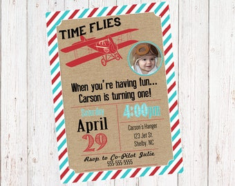 SALE Vintage Airplane Time Flies Invitation with FREE 4x6 Thank you card