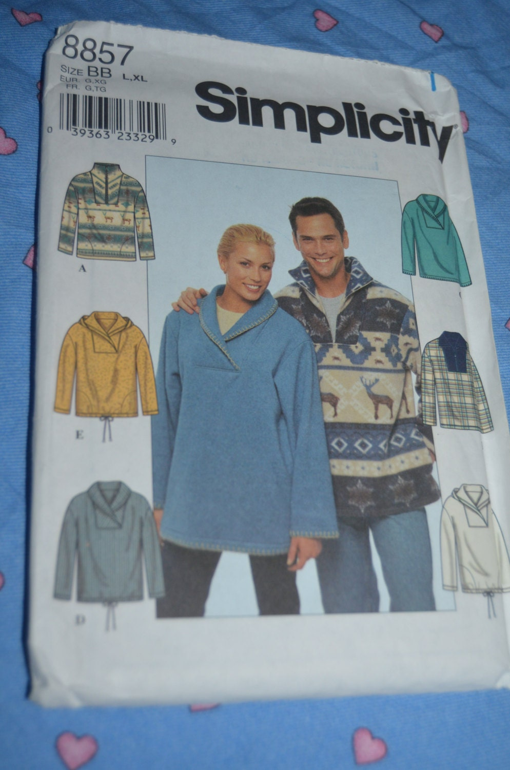 437db7527abc Simplicity 8857 Mens and Womens Knit-Fleece Top Sewing Pattern - UNCUT -  Sizes L - XL from DestinedRendezvous on Etsy Studio