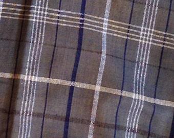 Plaid Raw Silk Yardage in gray blue and white