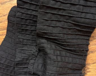 Black Cotton Tucked Trim Yardage