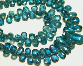 """AAA-Teal Blue Moss Kyanite Faceted Pear Briolette- 7""""Strand -Stones measure- 8x5-10x7mm"""