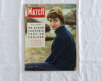 Paris Match magazine No. 420 featuring Elizabeth II in 1957 french vintage home decor