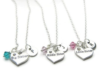 Big, Middle And Little Sister Swarovski Birthstone Beads Initial Necklaces, 3 Sisters Necklaces, Sisters Initial Necklaces, Personalized
