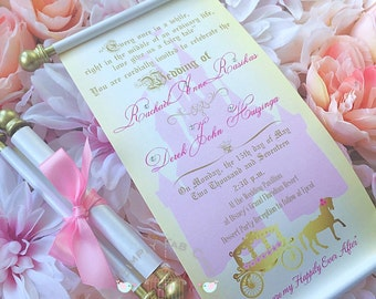 Wedding Royal Princess Carriage Scroll Wedding Invitation Birthday Wedding Invitation Handmade Prince Invitation | Disney Wedding Invitation