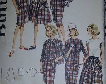 UNCUT and FF Pattern Pieces Butterick 2983 Sewing Pattern Wrap Skirt, Shift Dress, Overblouse, Skirt, and Jacket Size 14 Bust 34