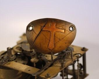 steampunk leather eye patch , cross