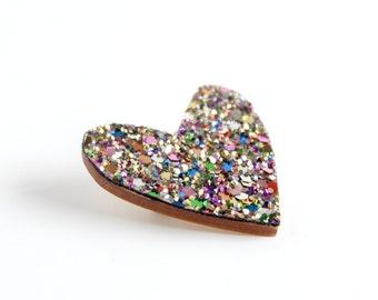 Mulitcoloured Glitter Heart Pin, Glitter Heart Brooch, Wooden Love Heart Brooch Pin, Valentines Pin