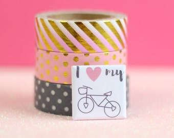 I Love My Bike Badge Small, Square Bicycle Badge, Bicycle Pin, Bicycle Brooch, Bicycle Button