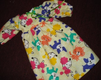 fits 14 1/2 inch girl doll Yellow flannel Dog print nightgown