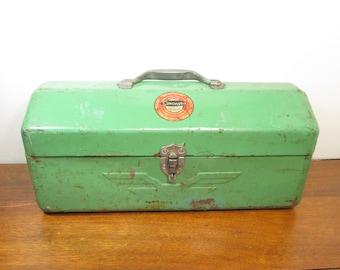 Vintage Tool Box by Simonsen, Industrial Storage, Green