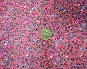 Dark Pink Floral Fabric Cranston VIP Print Tiny Print Calico Fabric 1 Yard