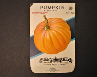 Vintage Seed Packet, Pumpkin Seed Envelope, Paper Ephemera
