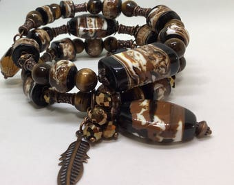 Tribal Themed Multi Tiered Bracelet.