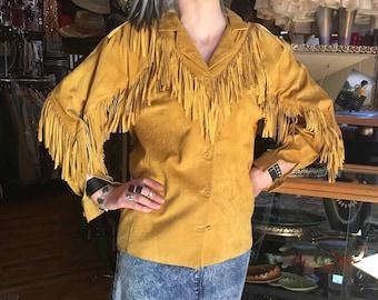 Vintage Reto Hippie Caramel Suede Fringe Jacket, Size Small