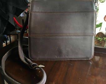 Vintage Chocolate Brown Leather Authentic Coach Handbag Cross Body Purse