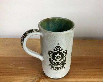 Handmade stoneware pottery tall mug