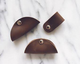 3pcs Leather Cord Organiser - Earphones Holder - Cable Organiser - Earbuds Holder - Wire Organizer - Anniversary gifts for men