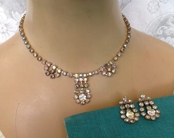 AB rhinestone demi parure choker necklace and screw back earrings bride bridal evening prom pageant hollywood regency glam costume jewelry