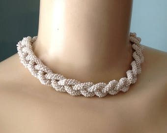 Braided twist micro-bead choker collar necklace white milk glass seed beads twisted rope coil bride bridal jewelry something old Mid century