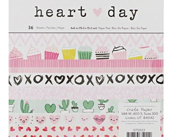 """Crate Paper - 6""""x6"""" Paper Pad - Heart Day - Valentines"""