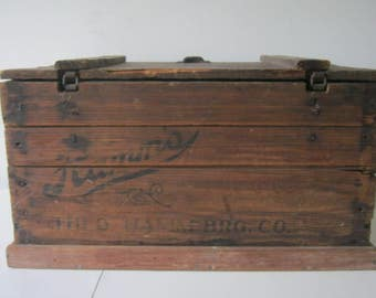 Antique Hamms Beer Wood Crate with Lid and The Original Dividers *RARE* Metal Chain Hardware