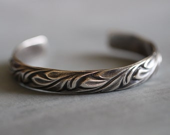 Sterling Silver Cuff Bracelet, Botanical, HEAVY GAUGE, Vines, Leaves, Floral, Patina, Thick, Sturdy, Gorgeous