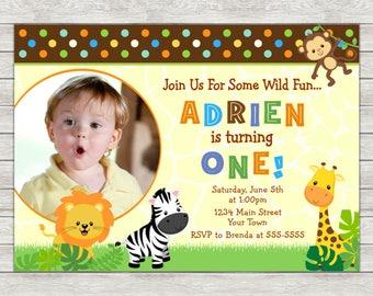 Jungle Birthday Invitation, Jungle Safari Invite - Printable File or Printed Invitations