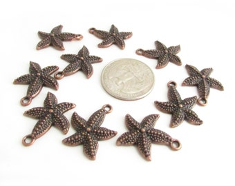 Copper Starfish Charms, 8 Starfish Pendants, Destash Starfish, Jewelry Supplies, Destash Charms