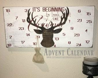 Christmas Advent Deer Wood Sign Calendar, Beginning To Look A Lot Like Christmas, Christmas Calendar, Countdown to Christmas Calendar