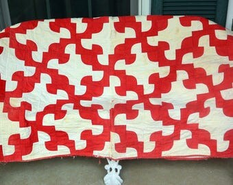 1960's Quilt, Red & White - Hand Made, Cotton - Vintage - Fabulous!