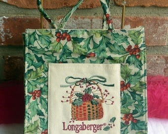 Longaberger Fabric Bag - UNUSED - Holy & Ivy, Double Handle, Basket Decor - Vintage - Fabulous!