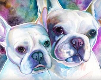 PET custom WATERCOLOR PORTRAIT, dog custom watercolor portrait, watercolor painting, Custom pet portrait from photo, french bulldog portrait