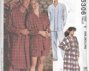 McCall's 6306 Size Sml-Med-Lrg Lanz of Salzburg Misses' and Men's Nightshirts and Pajamas Sewing Pattern 1992 Uncut