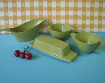 Melmac Serving Pieces -  Gravy Boat, Butter Dish, Cream & Sugar - Mid Century Vintage 1960's