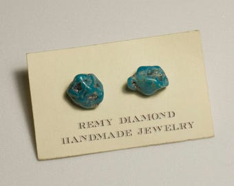 Tumbled Turquoise Stud Earrings - Sterling Silver - Crystal