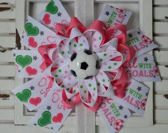 Pink Soccer Hair Bow