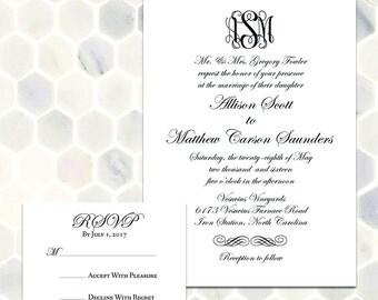 Classic Monogram Wedding Invitation Suite - Printable Black and White Classic and Traditional Custom Monogram Invitation with Formal Script