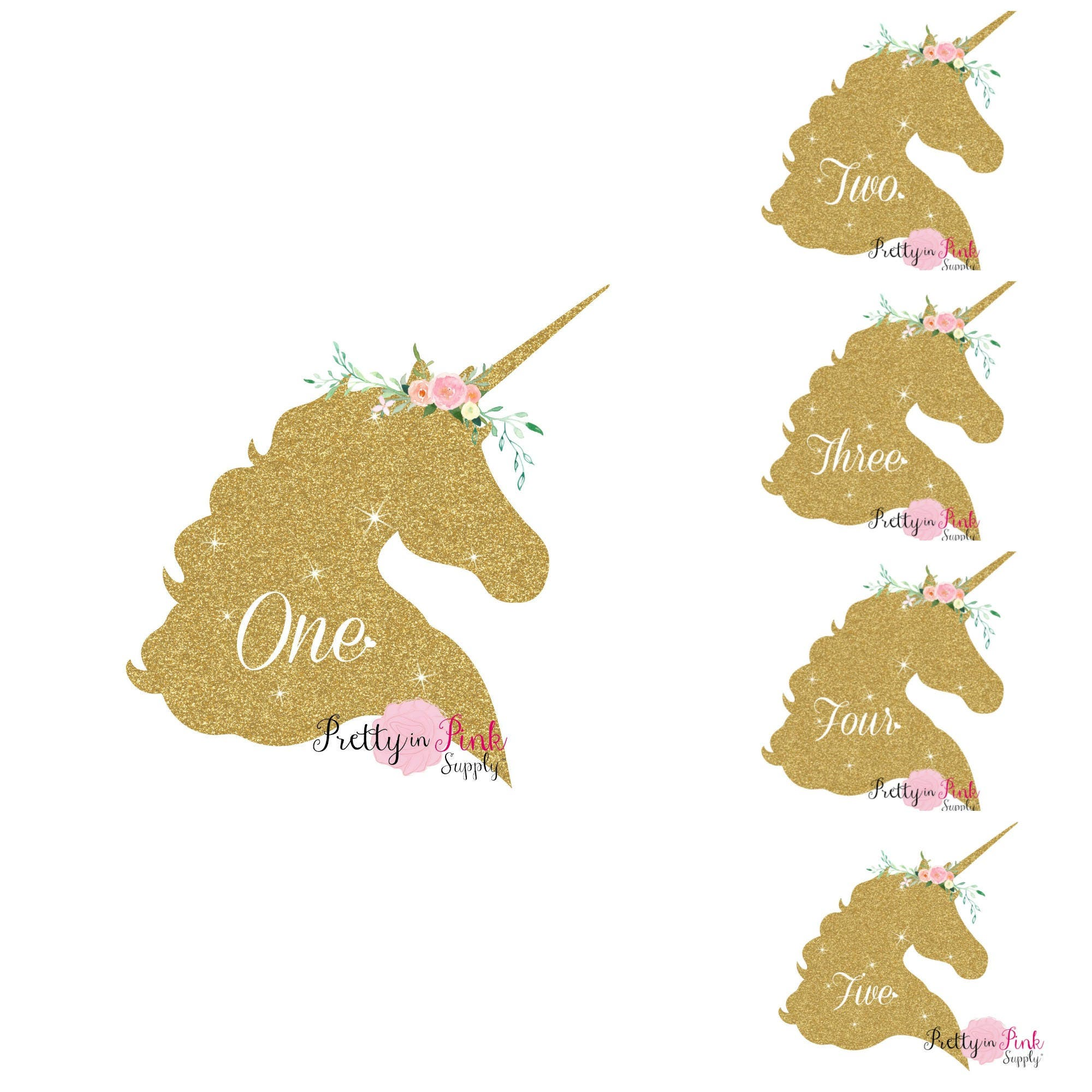 Vinyl Glitter Iron On Gold Unicorn Age Decal Diy Iron On