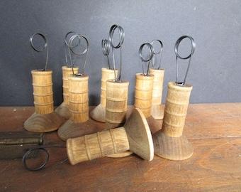 Vintage Place Card Holder Cafe Table Number Holder Repurposed Wooden Spool Holders