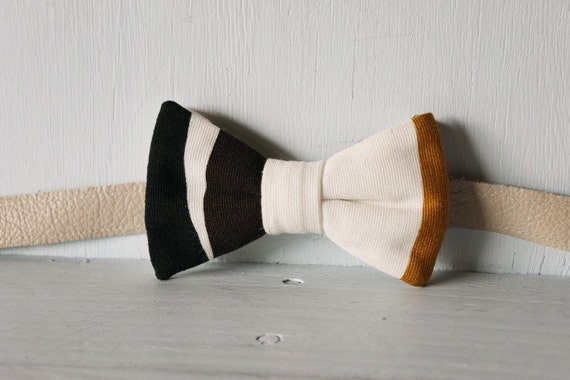 Bow tie unisex >> Geometric black, brown, white, gold bow, leather strap, buckle >> Brisbane