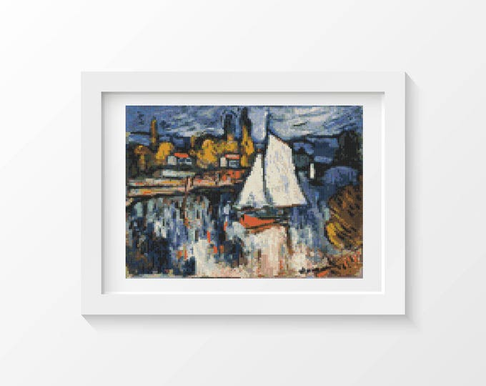 Cross Stitch Kit, Embroidery Kit, Art Cross Stitch, View of the Seine by Maurice de Vlaminck (DEVLA01)