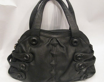 Kylla upcycled vintage vegan leather handbag with straps purse metal rock