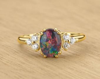 Black Opal & Diamond Classic Ring in 14K Gold Natural Australian Opal Artisan Jewelry SKU: 2208