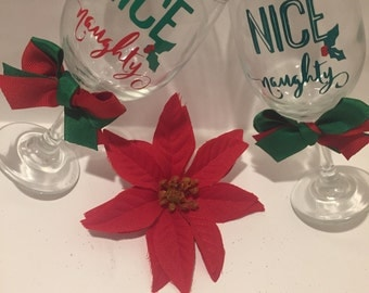 Beautiful christmas naught or nice wine glass set
