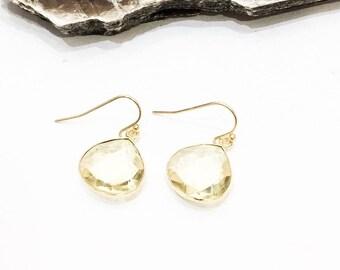 Lemon Quartz Teardrop Earrings