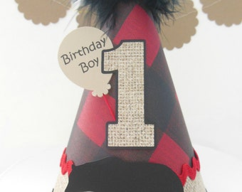 Little Lumberjack - Camping - Birthday Party Hat -Forest Trees,Burlap, Red and Black Plaid, Black- Personalized