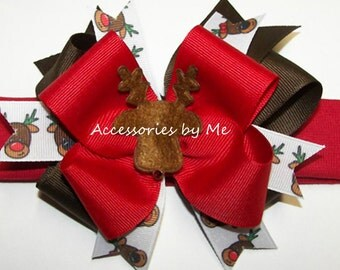 Christmas Headband, Rudolph Red Nosed Reindeer Bow Band, Baby Girl Infant Newborn Hair Bow Barrette, Santa Photo Prop Dance Dress Up Costume