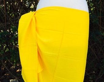 Yellow half size flat color pareu