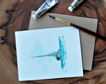 """Set of 3_ Original hand painted Sail Boat blank greeting/ Thank you/ Bon voyage cards 4.5""""x5.5"""""""