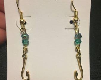 Gold Fishhook Earrings